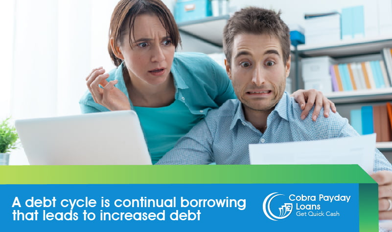 A debt cycle is continual borrowing that leads to increased debt