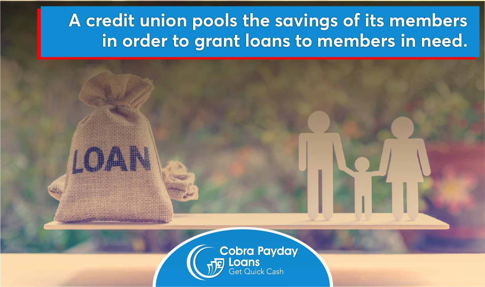 A credit union pools the savings of its members in order to grant loans to members in need