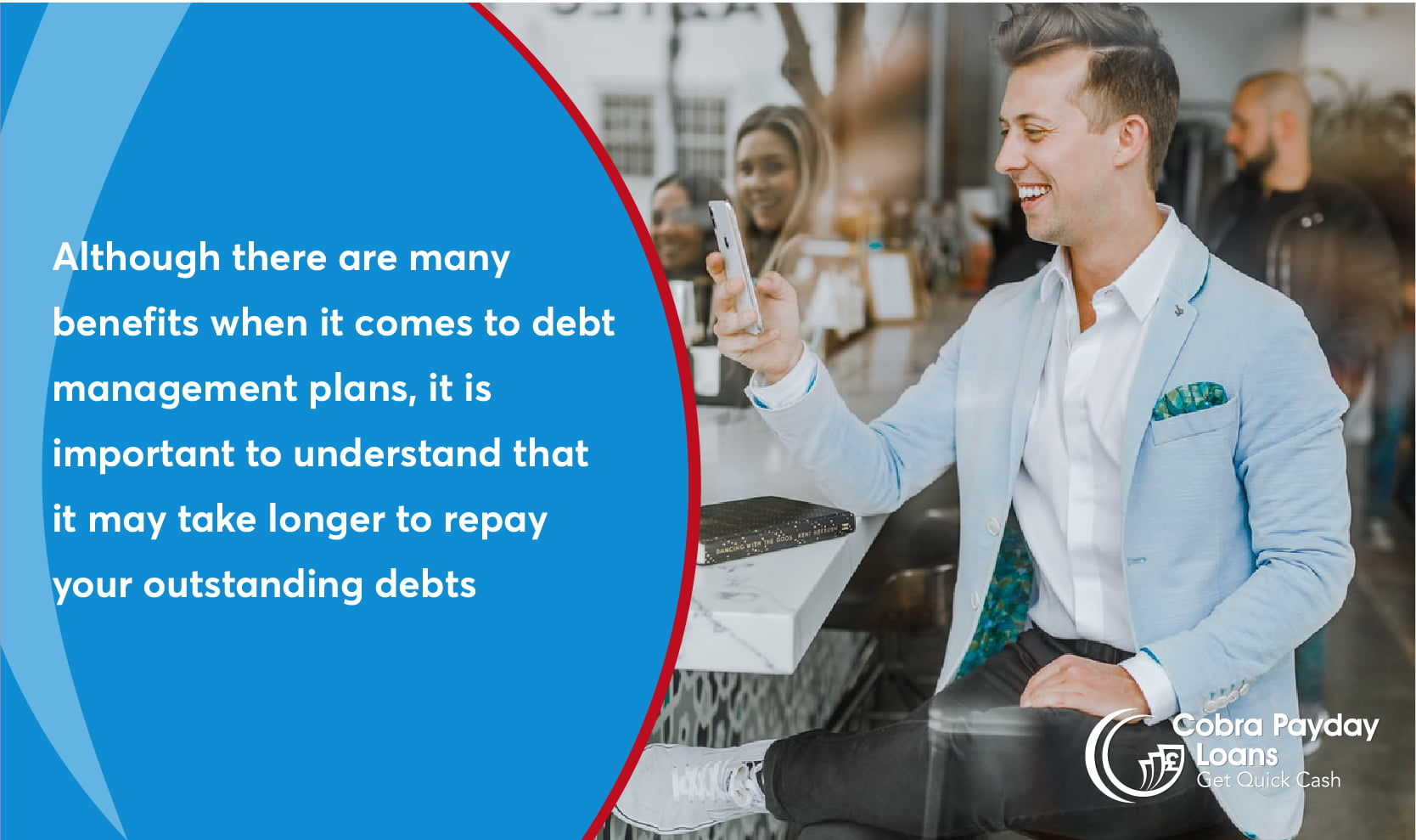 Although there are many benefits when it comes to debt management plans, it is important to understand that it may take longer to repay your outstanding debts